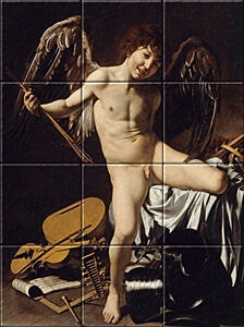 Small image of our reproduction of Amor Victorious by Michelangelo Merisi da Caravaggio on ceramic tiles tableaus
