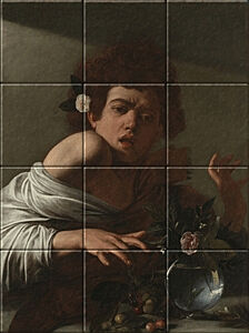 Small image of our reproduction of Boy bitten by a Lizard by Michelangelo Merisi da Caravaggio on ceramic tiles tableaus