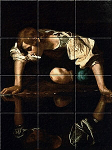Small image of our reproduction of Narcissus by Michelangelo Merisi da Caravaggio on ceramic tiles tableaus