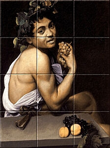 Small image of our reproduction of Young Sick Bacchus by Michelangelo Merisi da Caravaggio on ceramic tiles tableaus