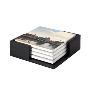 Image of our reproduction of View of Delft coaster set of 4 by Johannes Vermeer on ceramic coaster sets, small