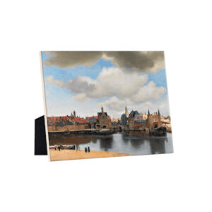Image of our reproduction of View of Delft on tile with easelback by Johannes Vermeer on ceramic tiles with easelback, small
