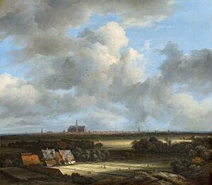 Afbeelding van onze reproductie van Gezicht Op Haarlem met Bleekvelden by Jacob van Ruisdael op canvas, klein
