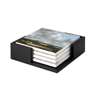 Image of our reproduction of View of Haarlem with Bleaching Grounds by Jacob van Ruisdael on ceramic coaster sets, small