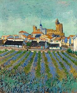 Afbeelding van onze reproductie van Gezicht op Saintes-Marie-de-la-Mer by Vincent van Gogh op canvas, klein