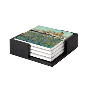Image of our reproduction of View of Saint-Maries-de-la-Mer by Vincent van Gogh on ceramic coaster sets, small