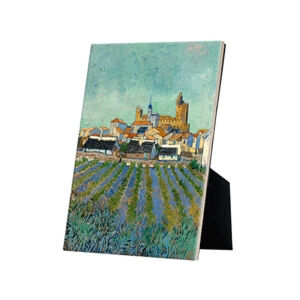 Image of our reproduction of View of Saint-Maries-de-la-Mer by Vincent van Gogh on ceramic tiles with easelback, small