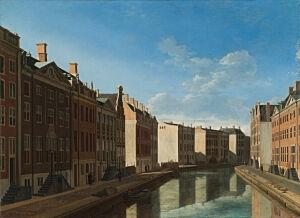 Afbeelding van onze reproductie van Gezicht op de Gouden Bocht in de Herengracht by Gerrit Adriaensz. Berckheyde op canvas, klein