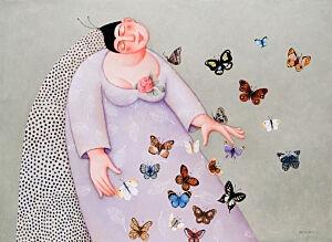 Afbeelding van onze reproductie van Vlindertrek by Ada Breedveld op canvas, klein