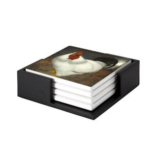 Image of our reproduction of White Rooster coaster set of 4 by Jan Mankes on ceramic coaster sets, small
