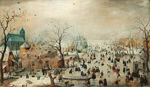 Afbeelding van onze reproductie van Winterlandschap met schaatsers by Hendrick Avercamp op canvas, klein