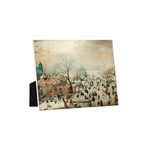 Image of our reproduction of Winter Landscape with Ice Skaters by Hendrick Avercamp on ceramic tiles with easelback, small
