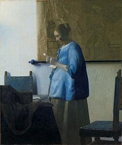 Afbeelding van onze reproductie van Brieflezende vrouw by Johannes Vermeer op canvas, klein