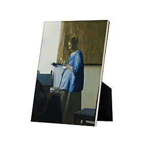 Image of our reproduction of Woman Reading a Letter on tile with easelback by Johannes Vermeer on ceramic tiles with easelback, small