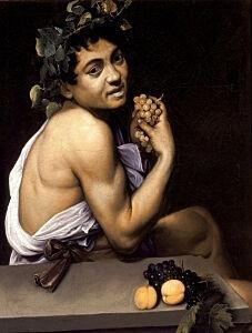 Afbeelding van onze reproductie van Jonge zieke Bacchus by Michelangelo Merisi da Caravaggio op canvas, klein