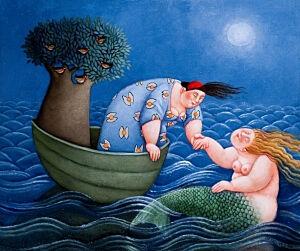 Afbeelding van onze reproductie van Zeewaardige ontmoeting by Ada Breedveld op canvas, klein