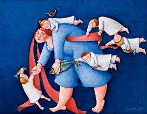 Afbeelding van onze reproductie van Zij wijst ons de weg by Ada Breedveld op canvas, klein