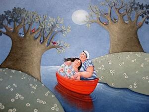 Afbeelding van onze reproductie van Zilveren maan by Ada Breedveld op canvas, klein