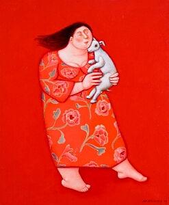 Afbeelding van onze reproductie van Zorg voor haar by Ada Breedveld op canvas, klein